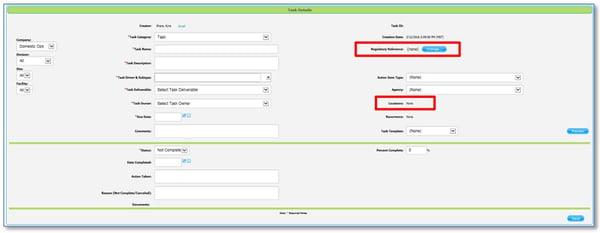 task creation dialog box showing regulatory references