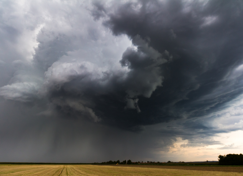 thunderstorm over field